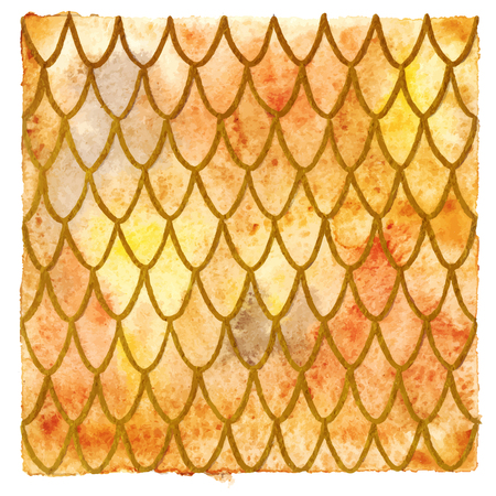 Dragon skin scales yellow orange gold vector pattern texture background.