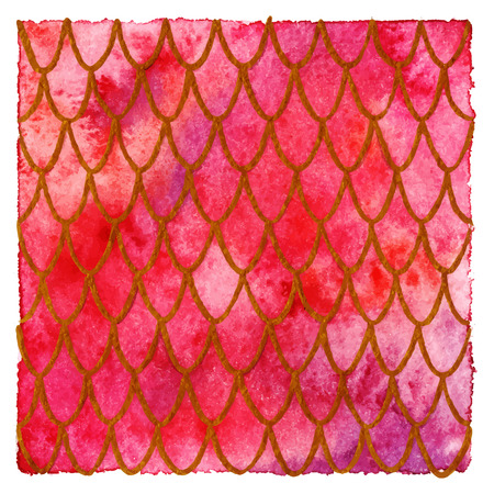 Dragon skin scales red gold ruby vector pattern texture background.