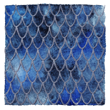 Dragon skin scales blue sapphire silver vector pattern texture background. Illustration