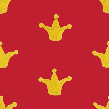 golden crown: Gold golden crown seamless pattern texture background.