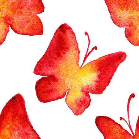 yellow butterfly: Watercolor red yellow butterfly seamless pattern background.