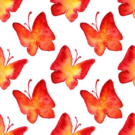 Watercolor red yellow butterfly seamless pattern background.