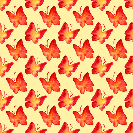 red yellow: Watercolor red yellow butterfly seamless pattern background.