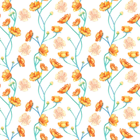 buttercups: Watercolor yellow buttercups seamless pattern texture background vector.