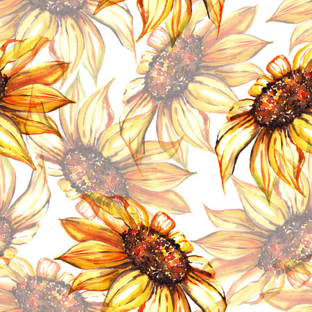 Watercolor yellow sunflower flower seamless pattern background. Stock fotó