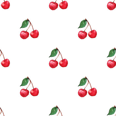 watercolor texture: Watercolor cherry berries seamless pattern texture background . Illustration