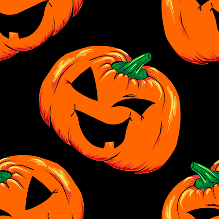 Halloween jack-o-lantern orange pumpkin vegetable seamless pattern background texture vector.