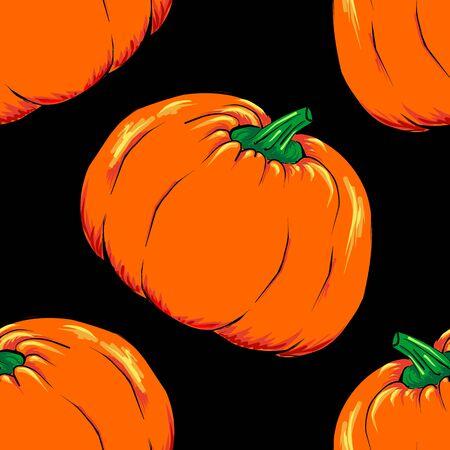 green lantern: Halloween jack-o-lantern orange pumpkin vegetable seamless pattern background texture vector.