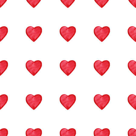 Watercolor red hearts Saint Valentines Day seamless pattern.