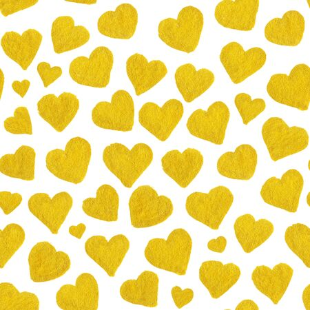 saint valentines: Watercolor golden hearts Saint Valentines Day seamless pattern.