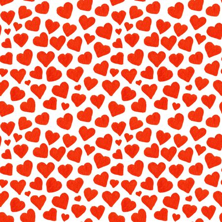 saint valentines: Watercolor red hearts Saint Valentines Day seamless pattern.
