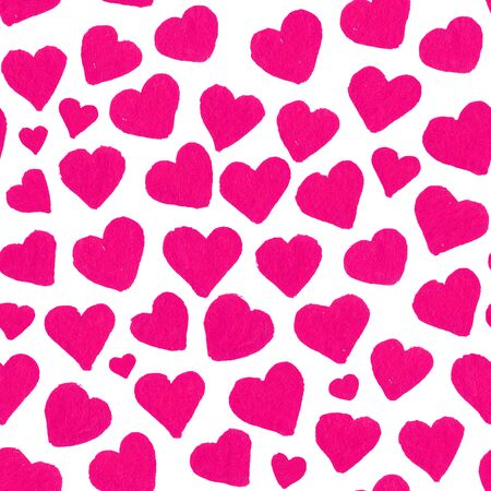 Watercolor pink hearts Saint Valentines Day seamless pattern.