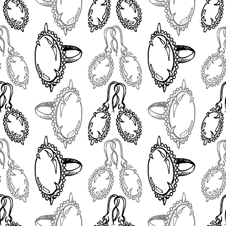 earrings: Doodle jewelry sketch ring earrings vintage seamless pattern vector. Illustration