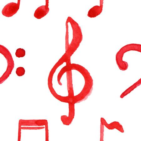 clave de fa: notas rojas Agudos Graves Clef de la m�sica vector sin patr�n.
