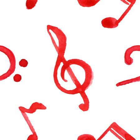 bass clef: Red notes treble bass clef music seamless pattern vector. Illustration