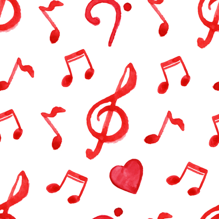 Red notes treble bass clef love music seamless pattern vector.