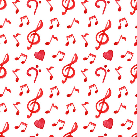 bass clef: Red notes treble bass clef love music seamless pattern vector.