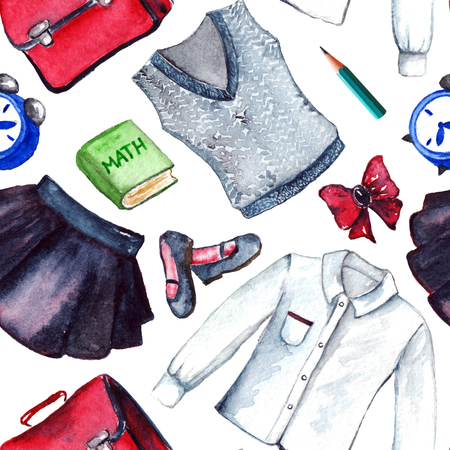 school form: School clothes pupil uniform form fashion look seamless pattern.