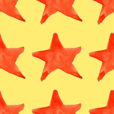 yellow star: Watercolor red orange five pointed star symbol seamless pattern background. Stock Photo