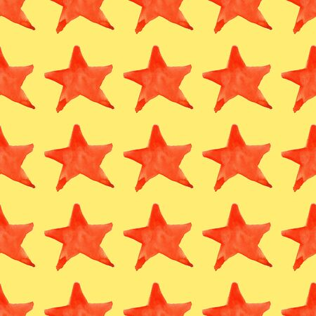 five star: Watercolor red orange five pointed star symbol seamless pattern background. Stock Photo
