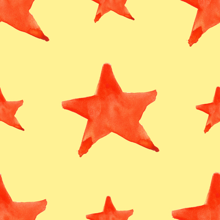 five pointed: Watercolor red orange five pointed star symbol seamless pattern background. Stock Photo
