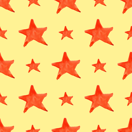 pointed to: Watercolor red orange five pointed star symbol seamless pattern background. Stock Photo
