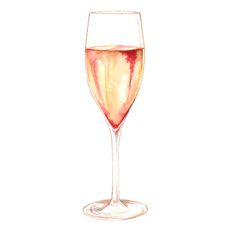 Watercolor champagne sparkling wine glass alcohol isolated Imagens