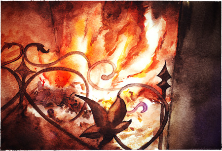 Watercolor fireplace fire flame home house indoor. Stock Photo