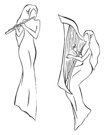 elves: Elves minstrels with harp and flute line art vector. Illustration