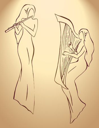 minstrel: Elves minstrels with harp and flute line art vector. Illustration