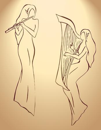Elves minstrels with harp and flute line art vector. Illustration