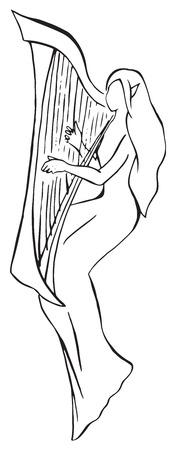 Elf minstrel with harp monochrome line art vector.