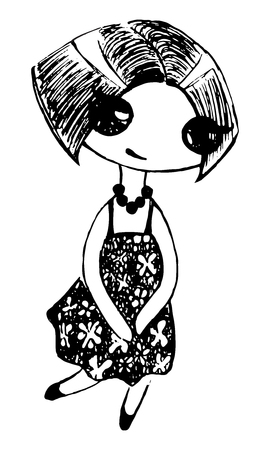 Monochrome cute girl in flower dress and beads sketch vector.