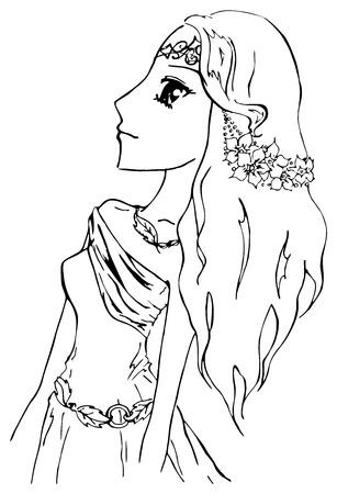 manga: Monochrome elf girl princess anime manga cartoon sketch vector.