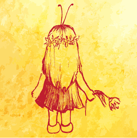 Little girl child in insect costume with flower sketch vector.