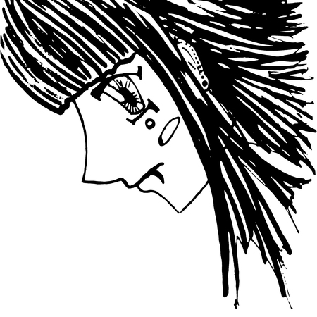piercing: Monochrome girl with piercing portrait sketched art vector.
