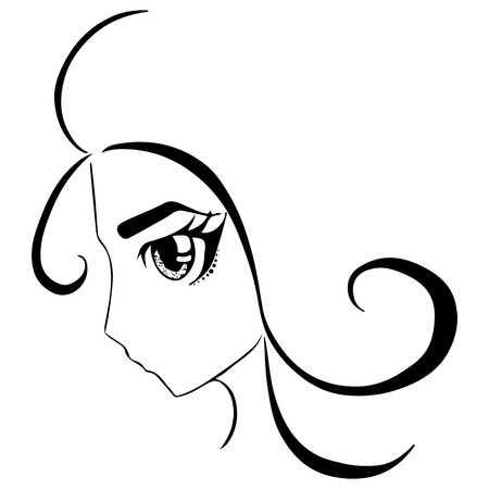 manga girl: Monochrome anime manga girl portrait sketched art vector.
