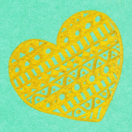 golden heart: doodle gold golden heart ink hand drawn isolated.