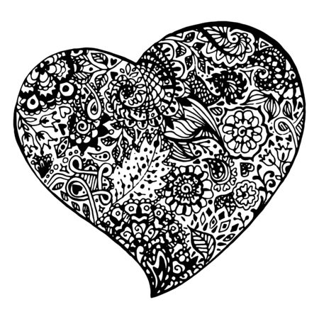 white heart: Zentangle doodle black heart ink hand drawn vector isolated.