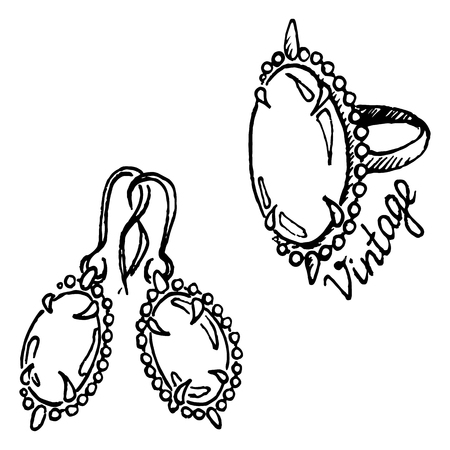 earrings: Doodle ring earrings jewelry set sketch vintage isolated vector.