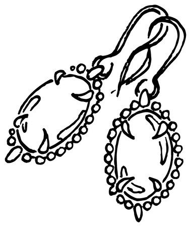 earrings: Doodle earrings jewelry vintage sketched art vector. Illustration