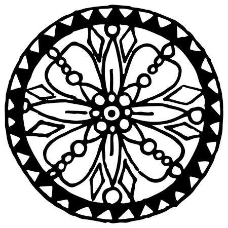 Monochrome black and white circle mandala doodle vector. Illustration