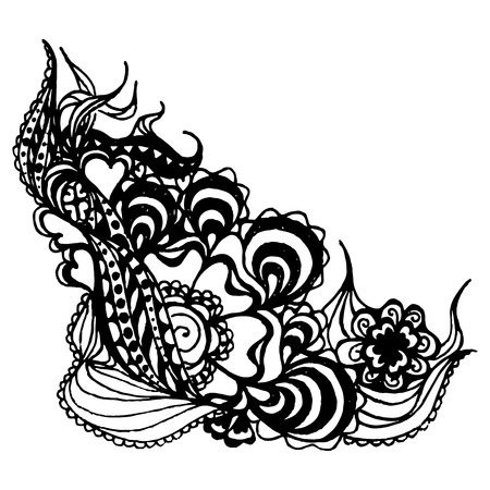 curlicue: Monochrome abstract doodle curlicue sketched art vector.