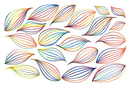 leaf line: Colorful rainbow leaf line art background set vector.