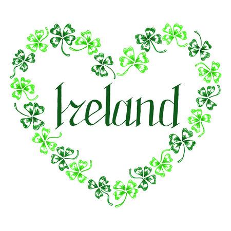trifolium: Doodle Ireland green clover heart vector lettering line art isolated.