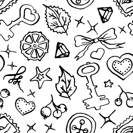 branch cut: Monochrome black and white doodle sketch seamless pattern vector. Illustration