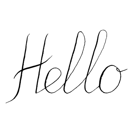 Monochrome black and white hello word lettering typographic isolated vector.