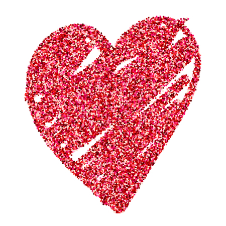 Watercolor glitter red shine heart love symbol isolated vector. Illustration