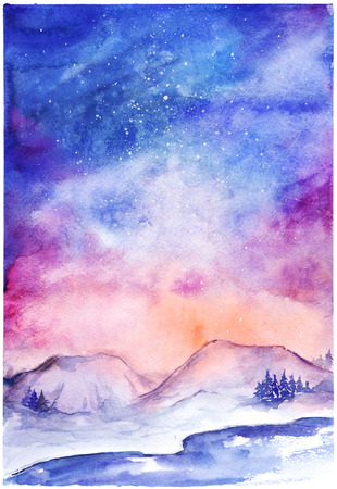 Watercolor nothern lights nature winter space landscape