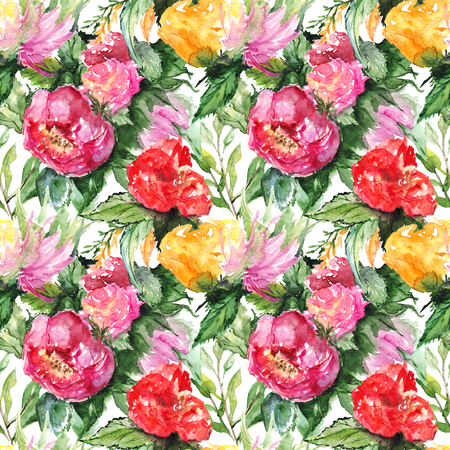 orange roses: Watercolor flower floral peony rose seamless pattern textile background.